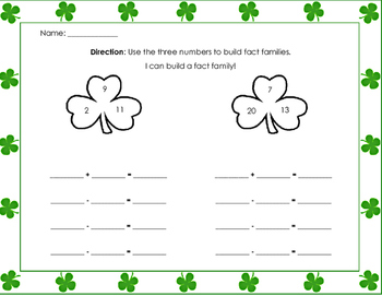 Fact Family - St. Patrick's Day - Common Core - addition - subtraction