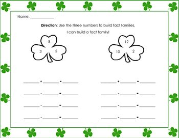 Fact Family - St. Patrick's Day - Common Core - addition -