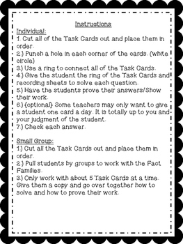Fact Family Task Cards {2 Sets}