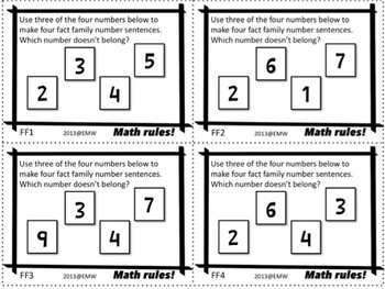 Fact Family Task Cards – 28 Cards for Adding/Subtracting Single and Double Digit