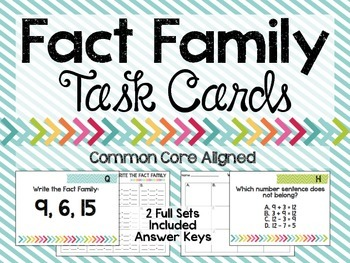 Fact Family Task Cards - Common Core Aligned