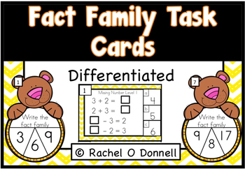 Fact Family Task Cards Differentiated
