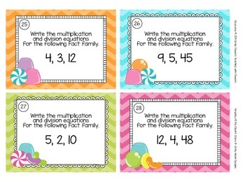 Multiplication & Division Fact Family Task Cards