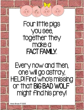 Fact Family Task Cards  - Who's Missing -  The Three Little Pigs