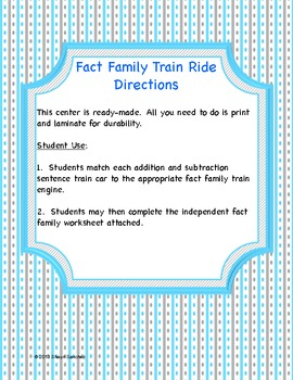 Fact Family Train Ride- Making 12 (Common Core Aligned)