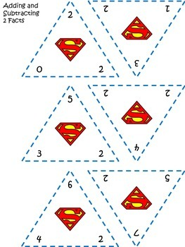 Fact Family Triangle Cards - Addition/Subtraction (Super Hero)