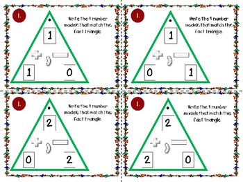 Fact Family Triangle Task Cards-Addition and Subtraction to 20!