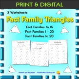 Fact Family Triangles - 3 worksheets - Addition & Subtract