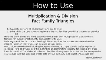 Fact Family Triangles (Multiplication & Division)