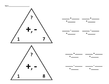 Fact Family Triangles for Adding and Subtracting 1