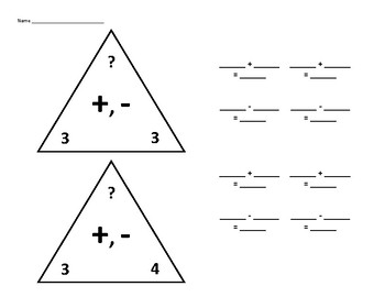 Fact Family Triangles for Adding and Subtracting 3