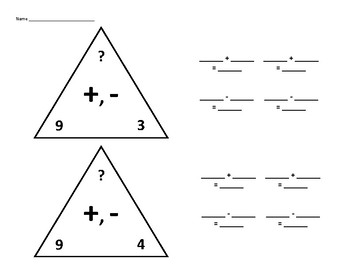 Fact Family Triangles for Adding and Subtracting 9