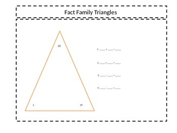 Fact Family Triangles for Sum of 20
