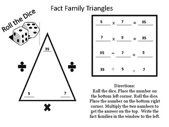 Fact Family Triangles with Dice