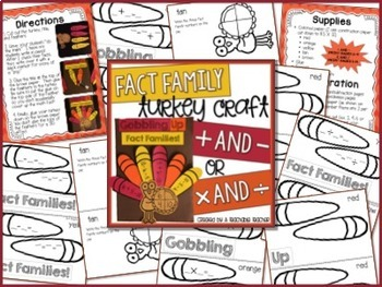 Fact Family Turkey Craft (Addition & Subtraction OR Multiplication & Division)