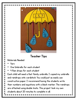 Fact Family Umbrella Craftivity