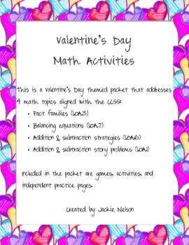 Valentine's Day Math Activities: CCSS Aligned: Operations