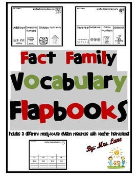 Fact Family Vocabulary Flapbooks