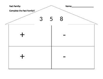 Fact Family Worksheet - 3, 5, & 8