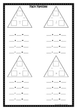 Fact Family Worksheet Addition / Subtraction