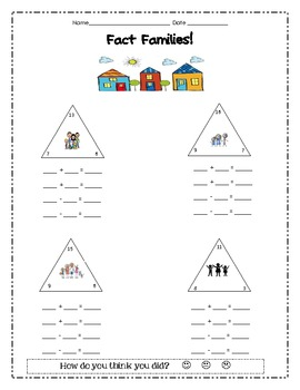 Fact Family Worksheet - fact triangles by TeacherLCG | TpT