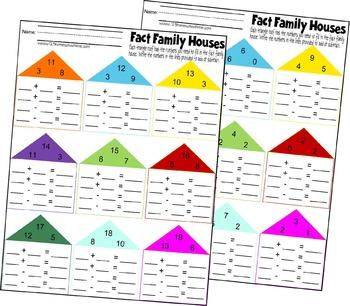 Fact Family Worksheets (K, 1st, 2nd Grade)