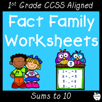 Fact Family Worksheets ~ Relate Addition & Subtraction ~ First Grade ...