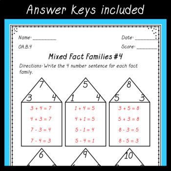 Fact Family Worksheets ~ Relate Addition & Subtraction ~ First Grade Common Core