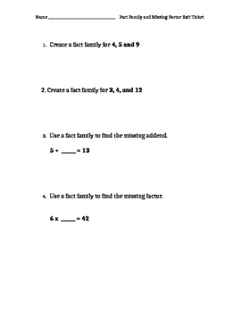 Fact Family and Missing Factor Practice