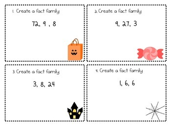 Fact Family and word problem task cards