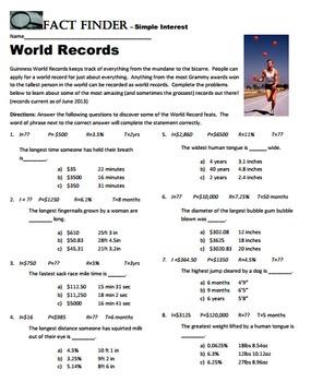 Fact Finder: Simple Interest Worksheet
