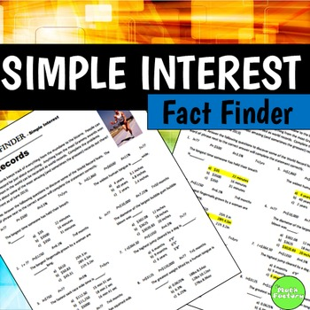 Fact Finder: Simple Interest Worksheet by The Math Factory | TpT