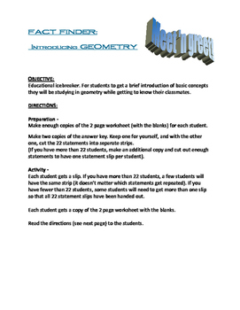 Geometry Fact Finder! A Meet and Greet Icebreaker