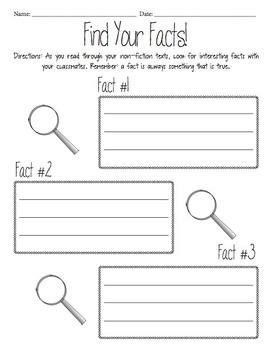 Fact Finder Worksheet by Stephany Hesslein | Teachers Pay Teachers