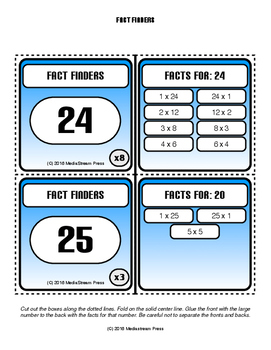 Fact Finders - Factors Multiplication Facts Skills Game Flash Cards