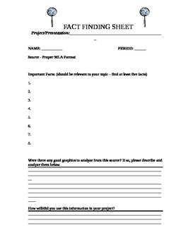 Fact Finding Sheet