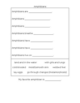 Fact Finding Worksheet for Reptiles, Amphibians, and Mammals