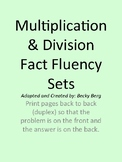Fact Fluency Card Sets for Multiplication/Division - Based