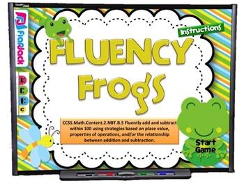 Fact Fluency Frogs Smart Board Game (CCSS.2.NBT.B.5)