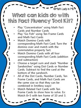 Fact Fluency Games Tool Kit: Addition & Subtraction Facts. K, 1st, 2nd, 3rd