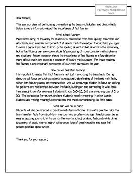 Fact Fluency Home Letter FREEBIE