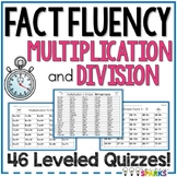 Multiplication and Division Fact Fluency Math Quizzes
