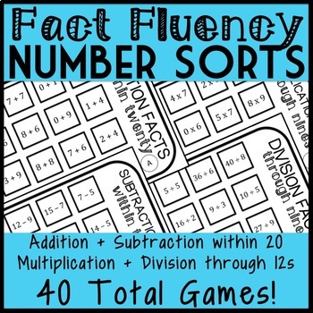 Fact Fluency Bundle- All 4 operations, 40 total games!