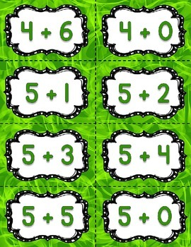 Fact Fluency Practice Addition 0-20 {GREEN} Flash Cards