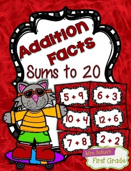 Fact Fluency Practice Addition 0-20 {RED} Flash Cards