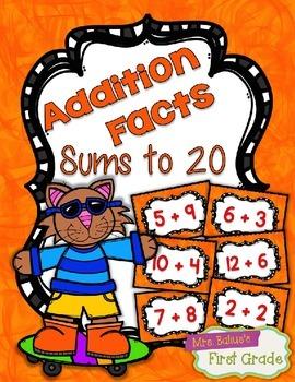 Fact Fluency Practice Cards 0-20 Addition {ORANGE} Flash Cards