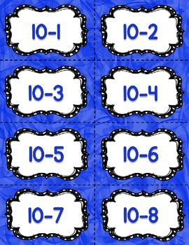 Subtraction Fact Fluency Practice Cards within 20 {BLUE} Flash Cards