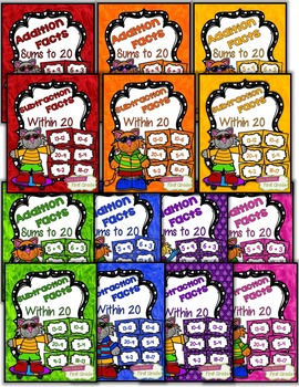 Fact Fluency Practice Cards Addition and Subtraction within 20 {Seven Colors!}