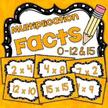 Math Fact Fluency Multiplication Practice 1-12&15 {YELLOW} Flash Cards