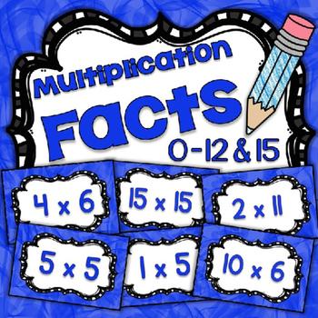 Math Fact Fluency Multiplication Practice 1-12&15 {BLUE} Flash Cards